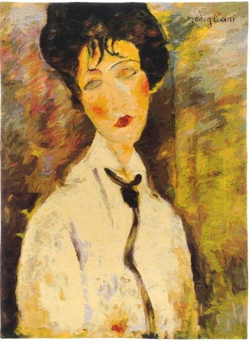 Женщина с черным галстуком Модильяни